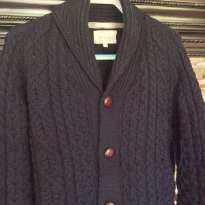Merino Wool Shawl Collar Cardigan made in England